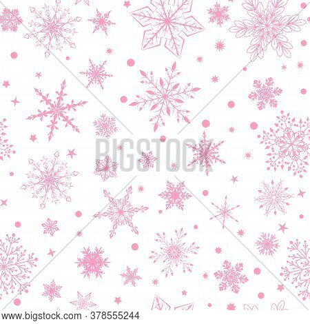 Christmas Seamless Pattern With Various Complex Big And Small Snowflakes, Pink On White Background