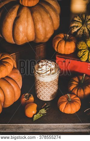 Pumpkin Latte Coffee Drink Topped With Whipped Cream And Cinnamon