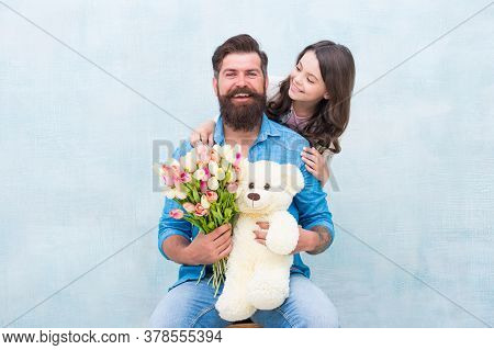 Heres To Celebrating You. Happy Family Celebrate Birthday. Little Girl Congratulate Bearded Man. Sma