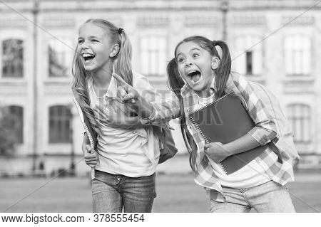Children Are The Future. Happy Children Have Fun Outdoors. Little Children Hold Study Books. Small C