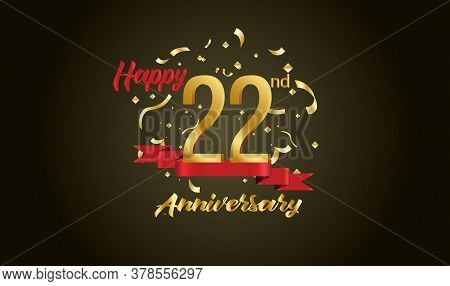 Anniversary Celebration Background. With The 22nd Number In Gold And With The Words Golden Anniversa