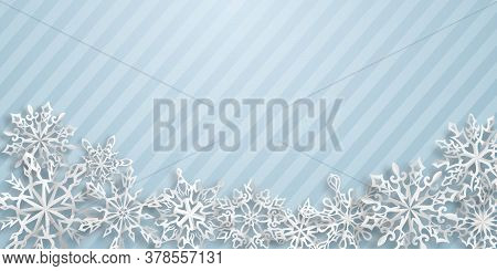 Christmas Background With Paper Snowflakes With Soft Shadows On Light Blue Striped Background