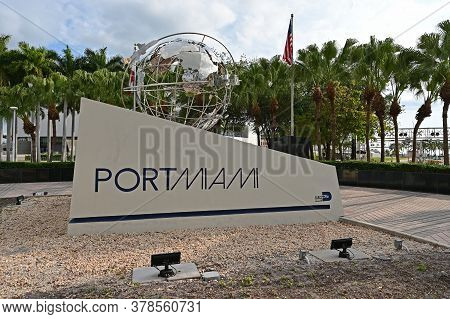 Miami, Florida - April 5, 2020 - Port Miami Monument Sign At Entrance To Port On Biscayne Boulevard.
