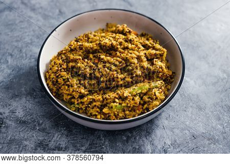 Healthy Plant-based Food Recipes Concept, Vegan Turmeric Quinoa And Rice With Mixed Vegetables