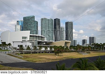 Miami, Florida - April 5, 2020 - Miami Arena And Waterfront Residential Towers On Biscayne Boulevard