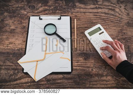 Business Life Concept, Desk With Mixed Business Objects Including To Do List Letters And Hand Typing