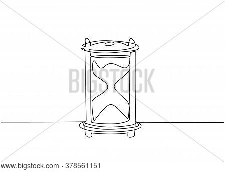 One Continuous Line Drawing Of Old Classic Hourglass To Tell The Time. Vintage Retro Time Sand Glass
