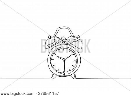 One Continuous Line Drawing Of Classic Analog Desk Alarm Clock With Big Ring Bell To Tell The Time.