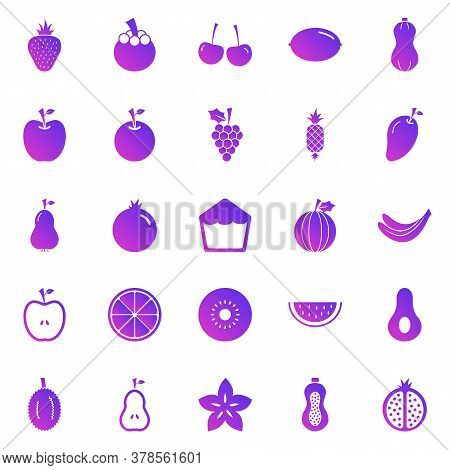 Fruit Gradient Icons On White Background, Stock Vector