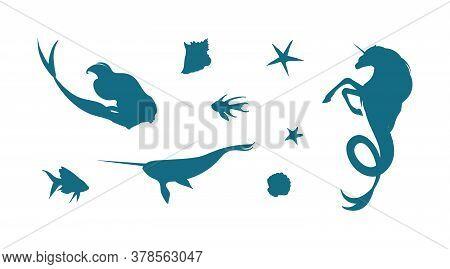 Vector Set With Underwater Fantastic Creatures Illustration. Blue Silhouette Of Undersea Unicorn, Me
