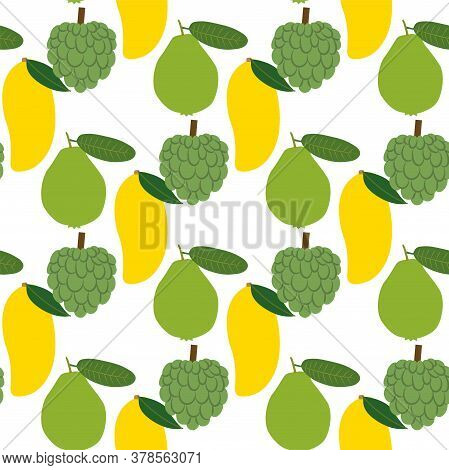 Fruit Of Thailand: Mango, Annona, Guava. Seamless Vector Patterns On White Background