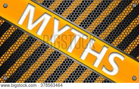 Myths Concept On Mesh Hexagon Background, 3d Rendering
