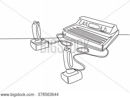One Continuous Line Drawing Set Of Retro Old Classic Console Video Game Player Machine With Joystick