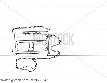 One Single Line Drawing Of Retro Old Classic Portable Radio Tape With Earphone. Vintage Mobile Casse