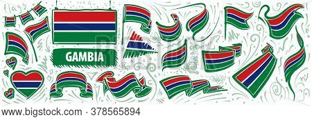 Vector Set Of The National Flag Of Gambia In Various Creative Designs
