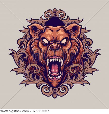Angry Bear Mascot With Ornaments Illustrations For Merchandise Sticker Clothing Line And Tatoo