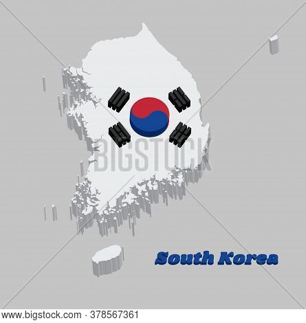 3d Map Outline And Flag Of South Korea,  A Red And Blue Taeguk, Symbolizing Balance On White And Bla