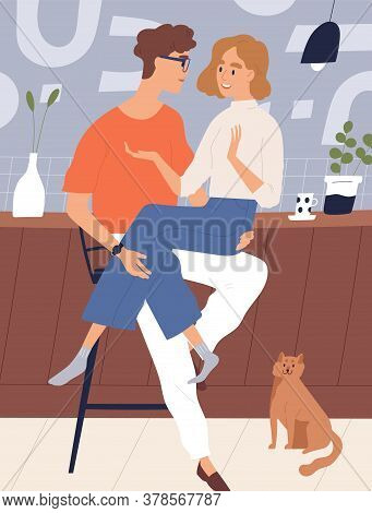 Happy Young Couple At Kitchen Sitting Together Vector Flat Illustration. Smiling Guy Hugging Funny G
