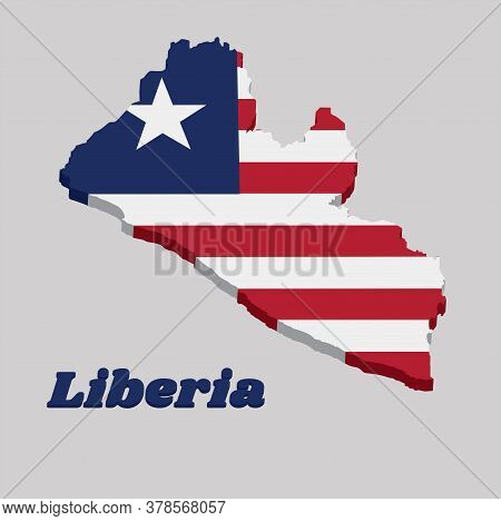3d Map Outline And Flag Of Liberia, Eleven Horizontal Stripes Alternating Red And White; In The Cant