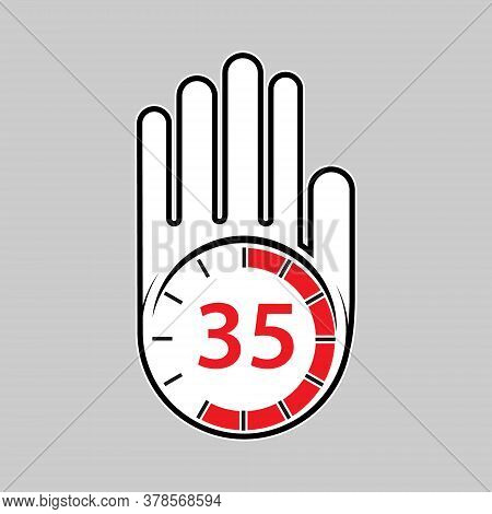 Raised, Open Hand With A Watch On It. Time For Rest Or Break, Pause. 35 Minutes Or Seconds. Flat Des