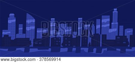 Panorama Of Night City Vector Flat Illustration. View Of Cityscape With Skyscrapers, Buildings And P