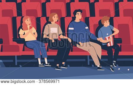 Happy Family Sitting At Movie Theater Vector Flat Illustration. Parents And Children Drinking Bevera