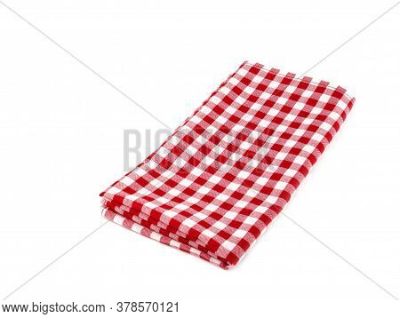 Closeup Of Red And White Checkered Fabric Or Napkin Isolated On White Background. Concept Kitchen Ut