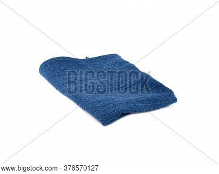 Blue Fabric Or Napkin Isolated On White Background. Concept Kitchen Utensils And Tableware.