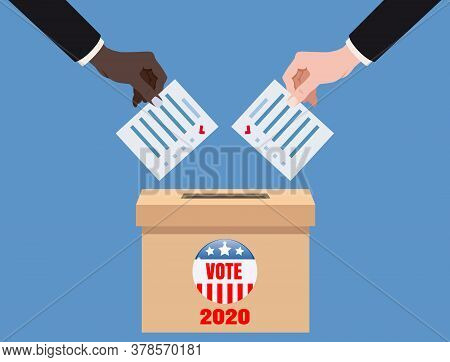 The Us Presidential Election 2020. Hands Putting Voting Blancs Papers In Vote Box, Ballot Campaign.