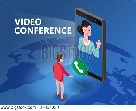 Online Meeting Video Conference Man On Screen Phone Talking By Internet In Videocall, Chat, Isometry