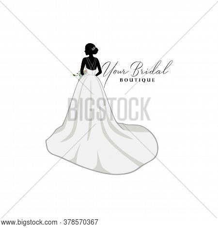 Beautiful Bride With Flower Bouquet, Bridal Boutique Logo Inspiration, Bridal Gown Logo Vector Desig