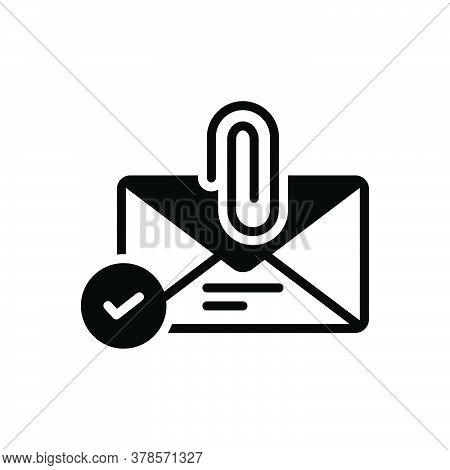 Black Solid Icon For Email-attachment Attach Clip Communication Paper Letter Correspondence Envelope