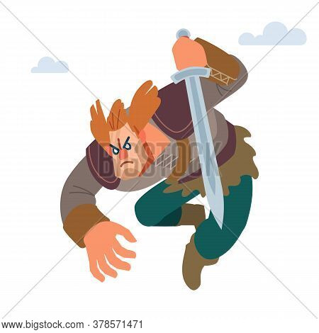 Viking. Warrior Northerner. Medieval Young Viking In Armor Attacks With Sword. Vector Isolated On Wh