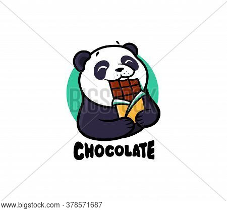 The Logo Chocolate. Logotype Panda Eat Chocolate.