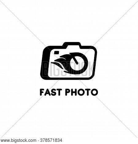 Vector Black And White Logo With A Camera. Logo For A Quick Photo Studio. Design Element For Studio,