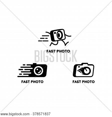 Set Of Vector Black And White Logos With A Camera And Photo Cards. Logos For Photo Studios. Design E
