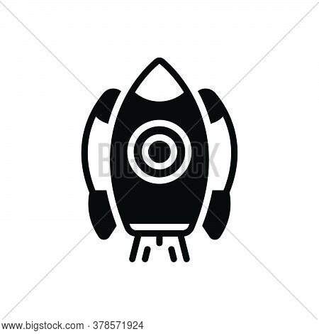 Black Solid Icon For Rocket-ship Launch Space Universe  Fire Flame Galaxy Spaceship Technology Start