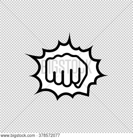 Hand Punch, Fist Line Icon. Forward Sign. Vector On Isolated Background. Eps 10
