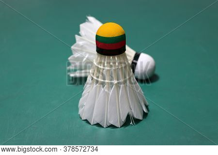 Used Shuttlecock And On Head Painted With Lithuania Flag Put Vertical And Out Focus Shuttlecock Put