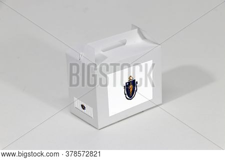 Massachusetts Flag On White Box With Barcode And The Color Of State Flag On White Background. The Co