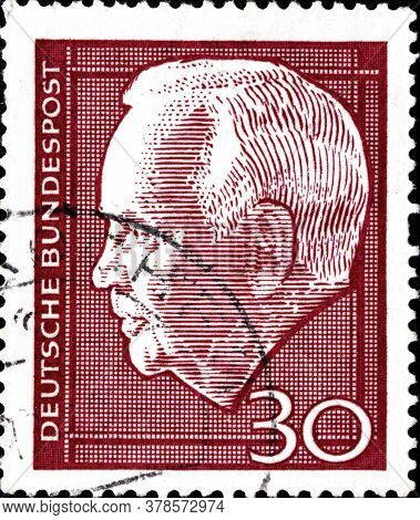 02 11 2020 Divnoe Stavropol Territory Russia The Postage Stamp Germany 1967 Heinrich Lubke 1894-1972