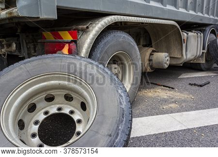 Wheel Hub And Truck Tire In Process Of Changing Wheel Nut. Maintenance A Truck Wheels Hub And Bearin