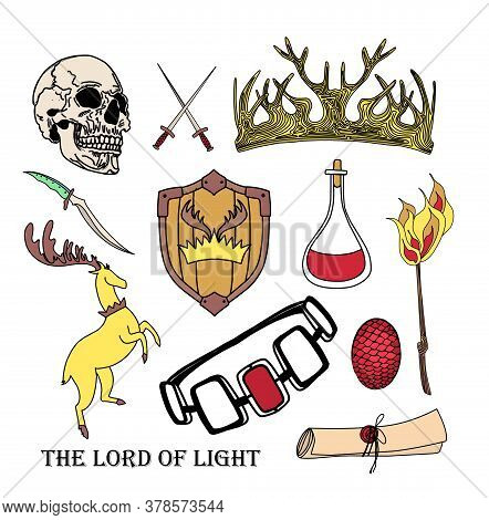 Magic And Sorcery Items Set. Regulation Symbols. Crown, Skull. Saitok Of Parchment And Magic Potion