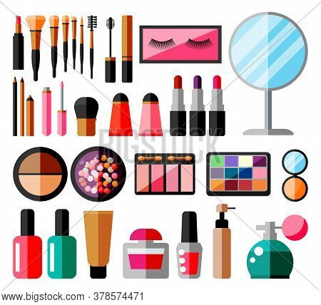 Makeup Collection. Set Of Decorative Cosmetics. Make-up Store. Various Brushes, Perfume, Mascara, Gl