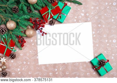 Christmas Letter. Empty Wishlist For Santa Claus. Christmas Greeting Card. Gift, Postcard, Cones, Fi