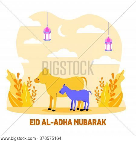 Cow And Goat Flat Illustration. Islamic Design Illustration Concept For Happy Eid Al Adha Or Sacrifi