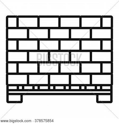 Stone Bricks Pallet Icon. Outline Stone Bricks Pallet Vector Icon For Web Design Isolated On White B