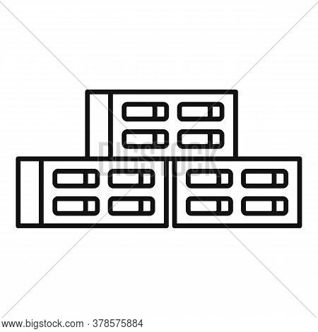 Cement Block Icon. Outline Cement Block Vector Icon For Web Design Isolated On White Background