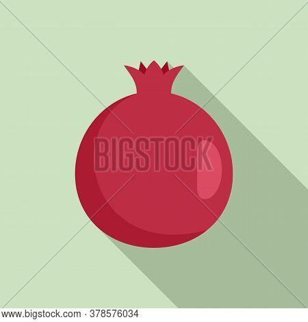 Fresh Pomegranate Icon. Flat Illustration Of Fresh Pomegranate Vector Icon For Web Design