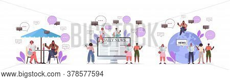 Set Mix Race People Reading Newspapers Discussing Daily News Chat Bubble Communication Concept Full